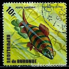 Sellos: BURUNDI SCOTT: C207D-(1974) (CORREO AEREO) (PEZ: DISTICHODUS DE SEIS BARROTES) USADO. Lote 151879402