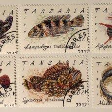 Sellos: LOTE DE 6 SELLOS CTO TANZANIA- PECES. Lote 152690434
