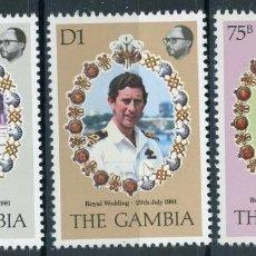 Sellos: GAMBIA 1981 IVERT 425/27 *** BODA REAL DEL PRINCIPE CARLOS Y LADY DIANA SPENCER. Lote 153118230