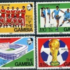 Sellos: GAMBIA 1982 IVERT 442/45 *** ESPAÑA-82 - CAMPEONATO DEL MUNDO DE FUTBOL - DEPORTES. Lote 153119574