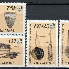 Sellos: GAMBIA 1986 IVERT 624/27 *** INSTRUMENTOS DE MÚSICA TIPICOS. Lote 153121206