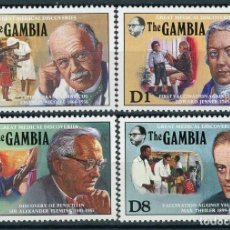Sellos: GAMBIA 1989 IVERT 881/84 *** GRANDES DESCUBRIMIENTOS EN MEDICINA - PERSONAJES. Lote 153121446