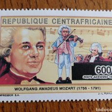 Sellos: CENTROAFRICA: MÚSICA, COMPOSITORES, MOZART, MNH. Lote 154788110