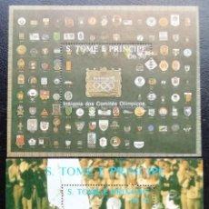 Sellos: 1988. DEPORTES. SANTO TOMÉ PRÍNCIPE. HB 63 D / HB 63 E. PRE-JUEGOS OLÍMPICOS BARCELONA. NUEVO.. Lote 155836678