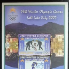 Sellos: 2002. DEPORTES. SIERRA LEONA. HB 529. JUEGOS OLÍMPICOS SALT LAKE CITY. NUEVO. . Lote 156006998