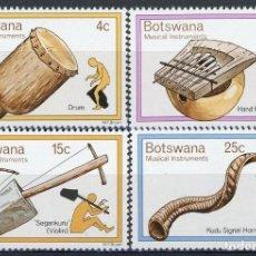 Sellos: BOTSWANA 1976 IVERT 299/302 *** INSTRUMENTOS DE MÚSICA TRADICIONALES. Lote 156983814