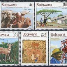 Sellos: BOTSWANA 1976 IVERT 321/25 *** 10º ANIVERSARIO DE LA INDEPENDENCIA. Lote 156984126