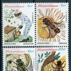 Sellos: MOZAMBIQUE 1985 IVERT 983/6 *** APICULTURA - FAUNA - INSECTOS - ABEJAS. Lote 158230866