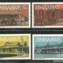 Sellos: ZIMBABWE 1980 IVERT 21/24 *** 75º ANIVERSARIO DE LA CAJA POSTAL DE AHORROS - MONUMENTOS. Lote 159946050