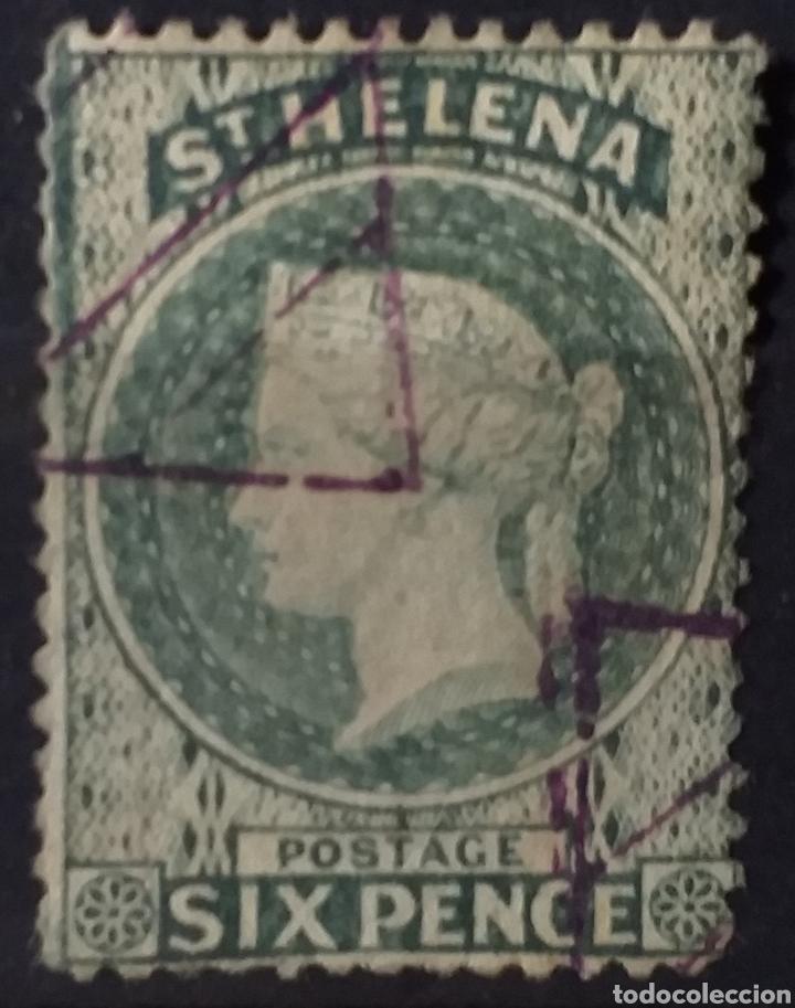 PRECIOSO SELLO DE SANTA HELENA DE 1889 CON MATASELLOS TRIANGULARES (Sellos - Extranjero - África - Otros paises)