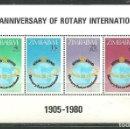 Sellos: ZIMBABWE 1980 HB IVERT 1 *** 75º ANIVERSARIO DEL ROTARY INTERNACIONAL. Lote 161265122