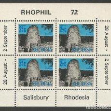 Sellos: RHODESIA - 3 BLOQUES DE RHOPHIL 1972 CON ADHESIVOS A PARTE POSTERIOR - NUEVOS. Lote 161592006