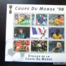 Sellos: CENTRAFRICAINE CENTROAFRICA 1998 COUPE DU MONDE DE FOOTBALL FRANCE YVERT 1367 /74 ** MNH. Lote 162297002