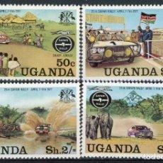 Sellos: UGANDA 1977 IVERT 134/37 * 25º ANIVERSARIO DEL RALLY SAFARI - COCHES. Lote 166115390