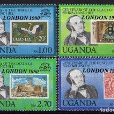 Sellos: UGANDA 1979 IVERT 222/25 * 100º ANIVERSARIO DE LA MUERTE DE SIR ROWLAND HILL. Lote 166117422