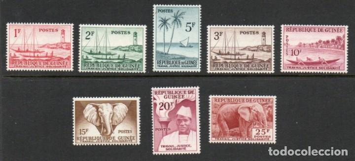 GUINEA AÑO 1959 YV 8/15*** BÁSICA ELEFANTES FAUNA FLORA BARCOS TRANSPORTES PERSONAJES (Sellos - Extranjero - África - Otros paises)