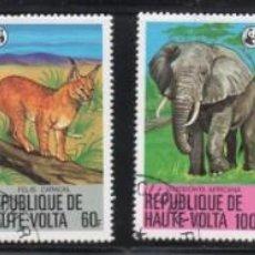 Sellos: ALTO VOLTA AÑO 1979 YV 488/93*º FAUNA MAMÍFEROS ANIMALES ELEFANTES FELINOS WWF. Lote 167037768