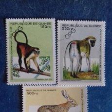 Sellos: REPÚBLICA DE GUINEA 1995. ANIMALES. YVERT 1051L, M, N Y P. MATASELLADOS.. Lote 167629100