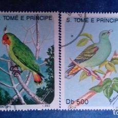 Sellos: SANTO TOMÉ Y PRÍNCIPE 1993. YVERT 1160, 1161. AVES. MATASELLADOS.. Lote 168183556