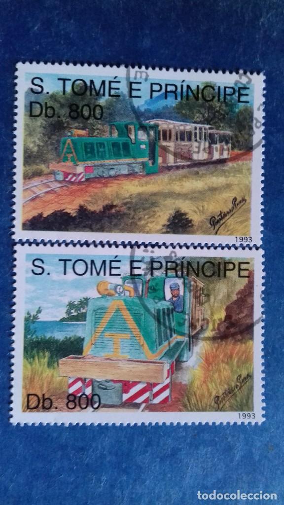 SANTO TOMÉ Y PRÍNCIPE 1993. YVERT 1162, 1163. LOCOMOTORAS. MATASELLADOS. (Sellos - Extranjero - África - Otros paises)