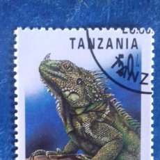 Sellos: TANZANIA 1993. YVERT 1415. REPTILES. IGUANA VERDE. MATASELLADO.. Lote 168355016