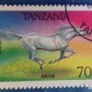 Sellos: TANZANIA 1993. YVERT 1438. CABALLO ÁRABE. MATASELLADO.. Lote 168386224