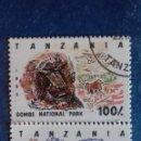 Sellos: TANZANIA 1993. YVERT 1446 Y 1448. PARQUES NACIONALES. LEÓN Y CEBRA. MATASELLADOS.. Lote 168386520