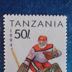 Sellos: TANZANIA 1994. YVERT 1493. JUEGOS OLÍMPICOS INVIERNO LILLENHAMMER. HOCKEY SOBRE HIELO. MATASELLADO. Lote 168386984