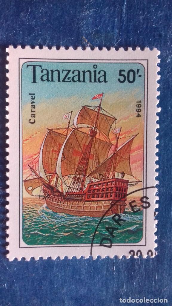 TANZANIA 1994. YVERT 1500. BARCOS VELEROS. CARABELA. MATASELLADO (Sellos - Extranjero - África - Otros paises)