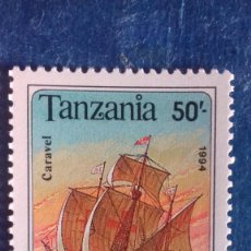 Sellos: TANZANIA 1994. YVERT 1500. BARCOS VELEROS. CARABELA. MATASELLADO. Lote 168387156