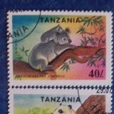 Sellos: TANZANIA 1994. YVERT 1654/1655.ESPECIES PROTEGIDAS. PANDA Y KOALA. MATASELLADOS. Lote 178575678