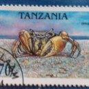 Sellos: TANZANIA 1994. YVERT 1698. CANGREJOS. JUEY COMÚN. MATASELLADO. Lote 168395088