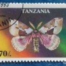Sellos: TANZANIA 1996. YVERT 1948. MARIPOSAS. DIRPHIA MULTICOLOR. MATASELLADO. Lote 168396092