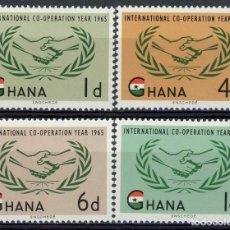 Sellos: GHANA 1965 IVERT 189/92 *** AÑO INTERNACIONAL COOPERACION Y 20º ANIVERSARIO DE NACIONES UNIDAS. Lote 169281404