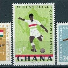 Sellos: GHANA 1965 IVERT 222/4 *** COPA AFRICANA DE FUTBOL - DEPORTES. Lote 169282052