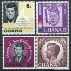 Sellos: GHANA 1965 IVERT 225/8 *** 2º ANIVERSARIO DE LA MUERTE DEL PRESIDENTE JOHN F. KENNEDY. Lote 169282424