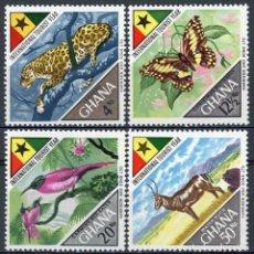 Sellos: GHANA 1967 IVERT 303/6 * AÑO INTERNACIONAL DEL TURISMO - FAUNA. Lote 169288720