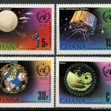 Sellos: GHANA 1973 IVERT 483/6 * CENTENARIO DE LA ORGANIZACIÓN METEOROLÓGICA MUNDIAL. Lote 169290868