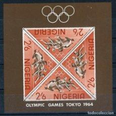 Sellos: NIGERIA 1964 HB IVERT 4 *** JUEGOS OLIMPICOS DE TOKYO - DEPORTES. Lote 171494874