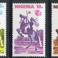 Sellos: NIGERIA 1975 IVERT 322/24 ** AÑO INTERNACIONAL DE LA MUJER - REINA AMINA DE ZARIA. Lote 171496237