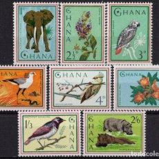 Sellos: GHANA 1965 IVERT 181/88 *** FAUNA Y FLORA - ANIMALES Y FLORES. Lote 172065567