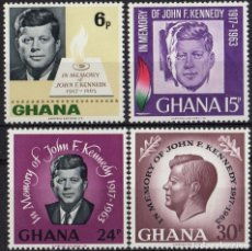 Sellos: GHANA 1965 IVERT 225/8 *** 2º ANIVERSARIO DE LA MUERTE DEL PRESIDENTE JOHN F. KENNEDY. Lote 172066428