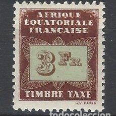 Selos: ÁFRICA ECUATORIAL FRANCESA 1937 - TAXAS - SELLO NUEVO **. Lote 172592308