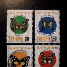 Sellos: ETIOPÍA. YVERT 1358/61 SERIE COMPLETA USADA. FAUNA. INSECTOS. MARIPOSAS. Lote 173486564