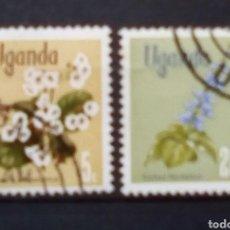 Sellos: UGANDA FLORES SERIE DE SELLOS USADOS. Lote 174929054