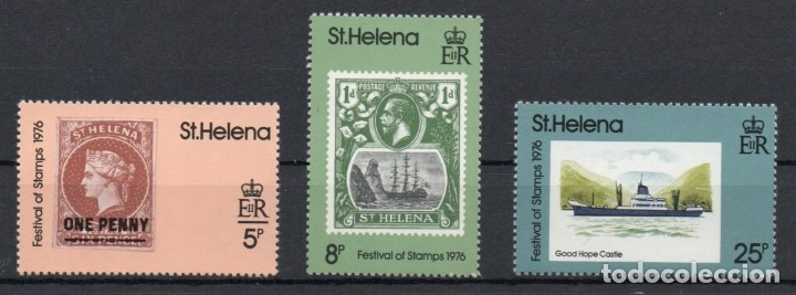 SANTA HELENA AÑO 1976 YV 281/83*** DÍA DEL SELLO - FILATELIA - BARCOS (Sellos - Extranjero - África - Otros paises)