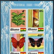 Sellos: GHANA 1968 HB IVERT 31 *** FLORA Y FAUNA - MARIPOSAS. Lote 175111199