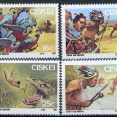 Sellos: CISKEI 1987 IVERT 123/26 *** FOLKLORE SUDAFRICANO (I) - LA LEYENDA DE SIKULUME. Lote 175582229