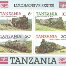 Sellos: TANZANIA,1985,HOJITA,YT BF 41,LOCOMOTORAS.NUEVA,G.ORIGINAL,SIN FIJASELLOS.. Lote 176136888