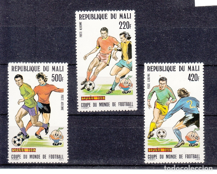 MALI A 442/4 SIN CHARNELA, COPA DEL MUNDO DE FUTBOL ESPAÑA 82 (Sellos - Extranjero - África - Otros paises)